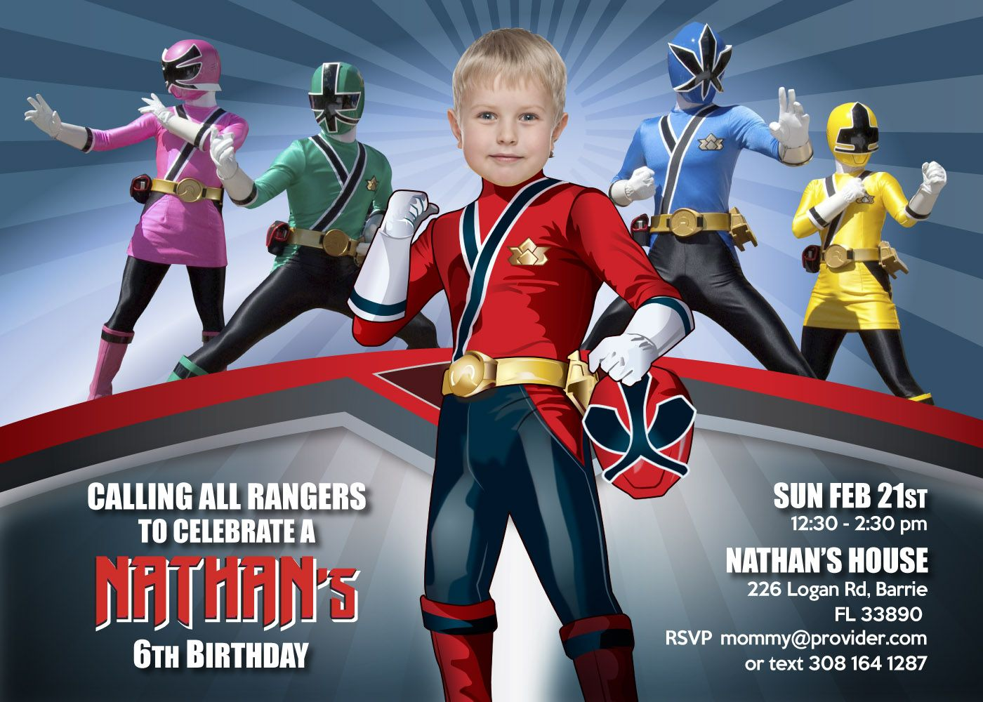 Power Rangers Birthday Invitation Red Power Ranger Power Ranger Birthday Power Ranger Party Power Rangers Invitations