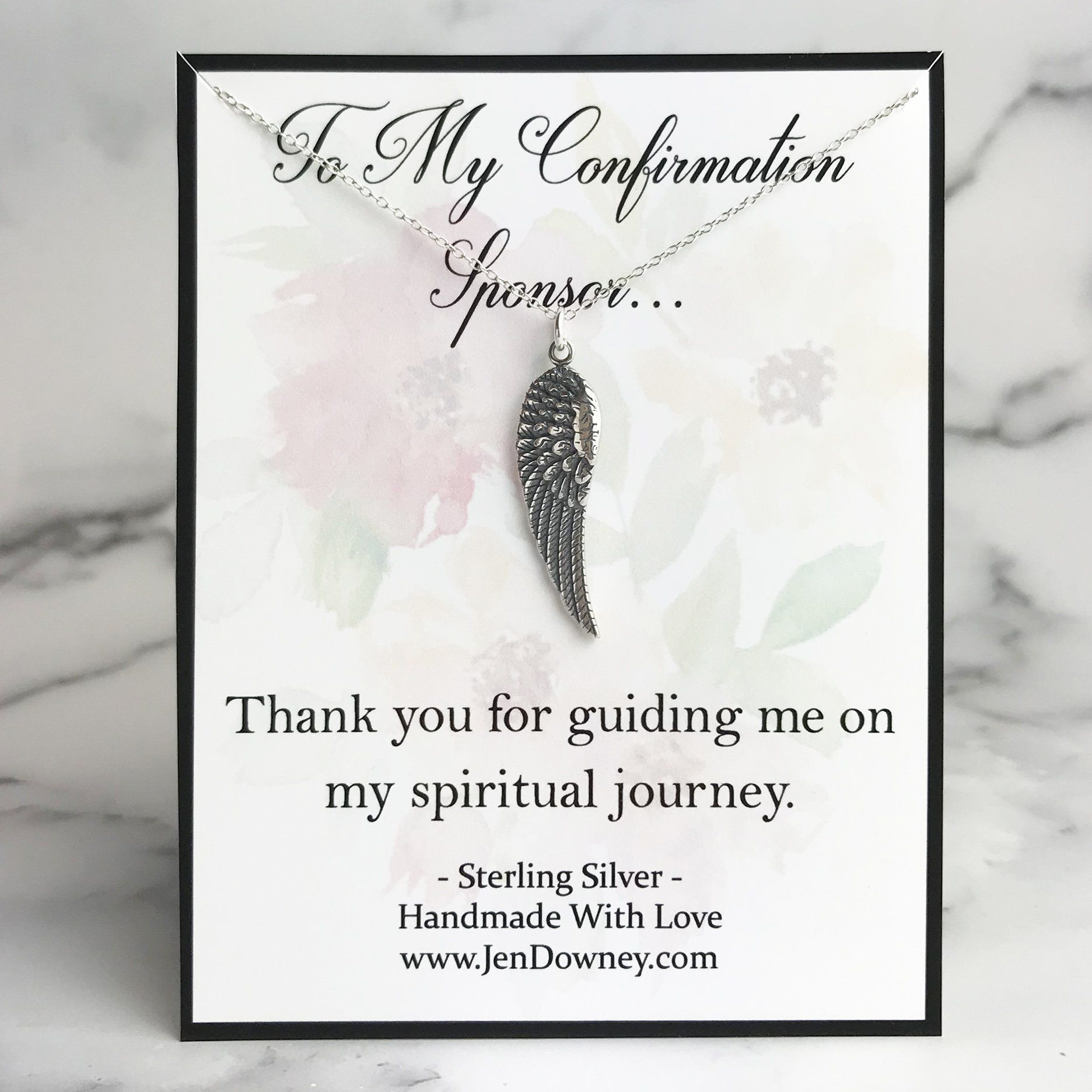 Confirmation Sponsor Thank You Gift Angel Wing Necklace - 18\ / No