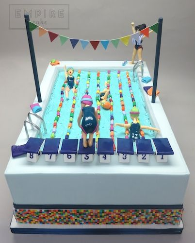 Amazing Olympic Swimming Pool Empire Cake With Images Pool Birthday Personalised Birthday Cards Vishlily Jamesorg