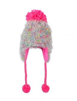 Shimmery Fuzzy Earflap Hat  038a0207a5a
