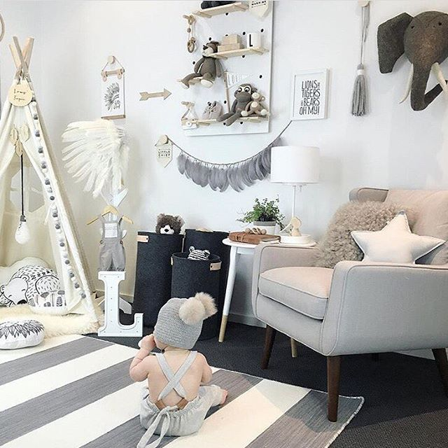 Gender Neutral Kids Room Ideas: Dreamy, Gender Neutral, Monochrome Playroom Via