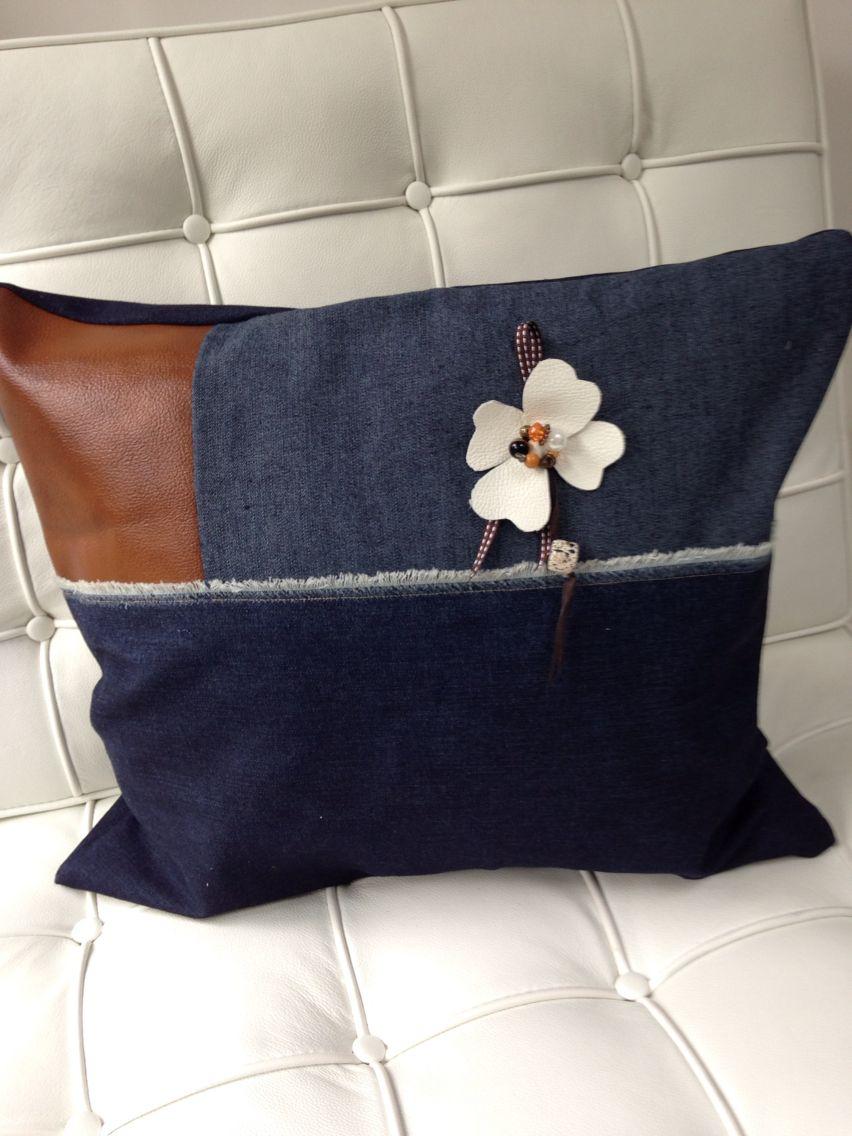 Denim and tan leather cushion … xx violet daisy … xx