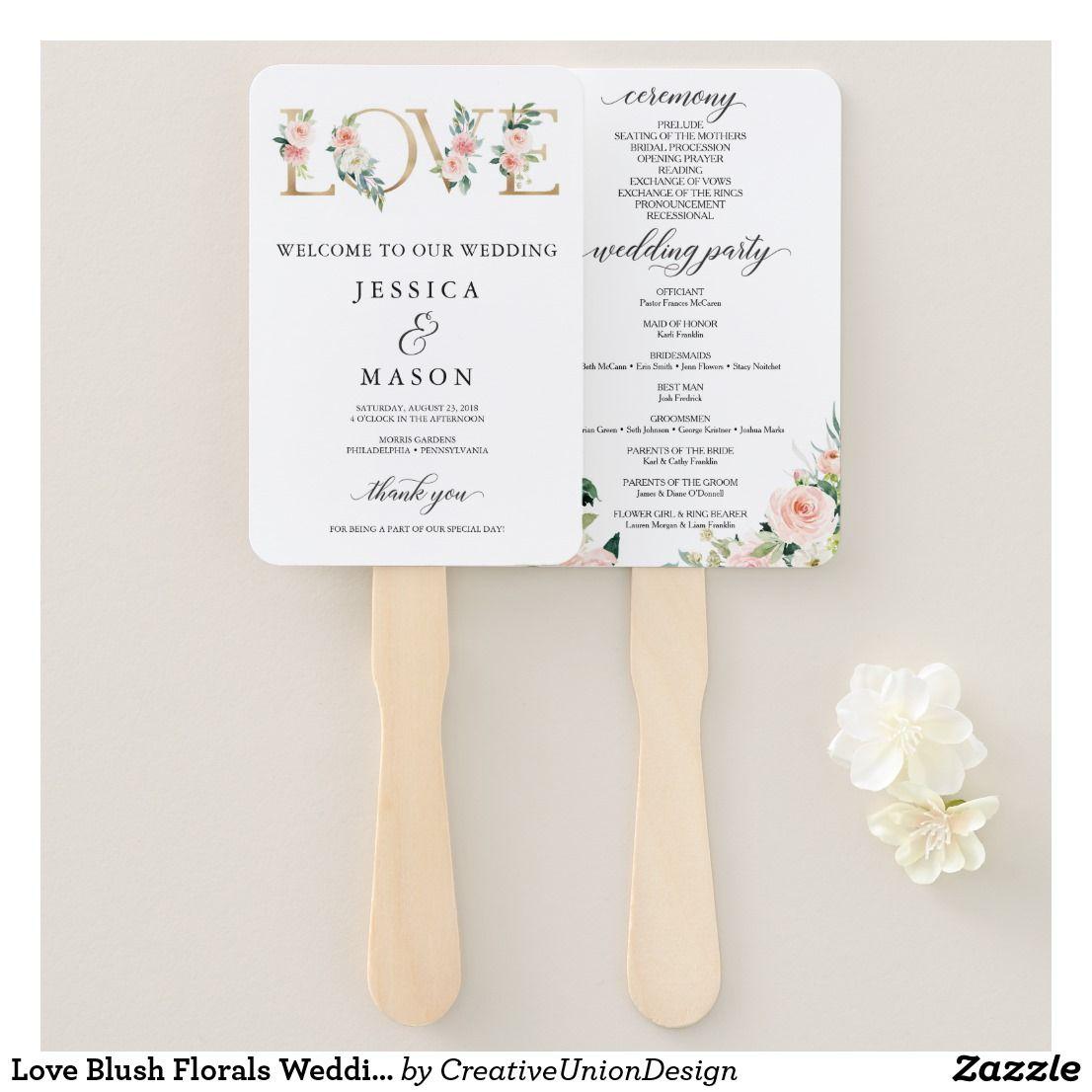 Love blush florals wedding program fan outdoor wedding ideas