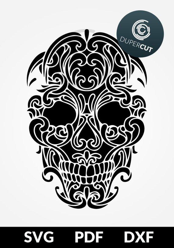 SVG / PDF /DXF file, Sugar Skull digital stencil, wall stencil