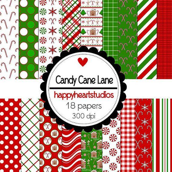 Digital Scrapbooking CandyCaneLane by azredhead on Etsy, $2.00