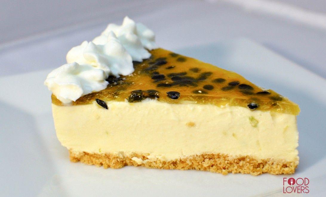 Cheesecake de chinola con chocolate blanco