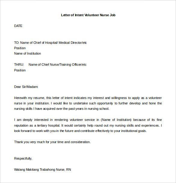 Job Application Letter Of Intent Template Best Resume Examples