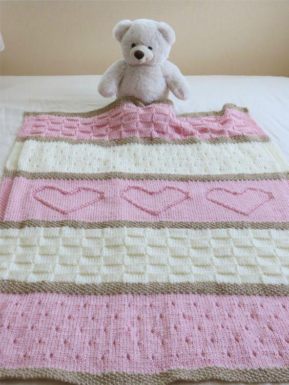 Photo of Strickmuster für Babydecken, Herzmuster für Babydecken, einfaches Strickmuster von Deborah O & # 39; Leary