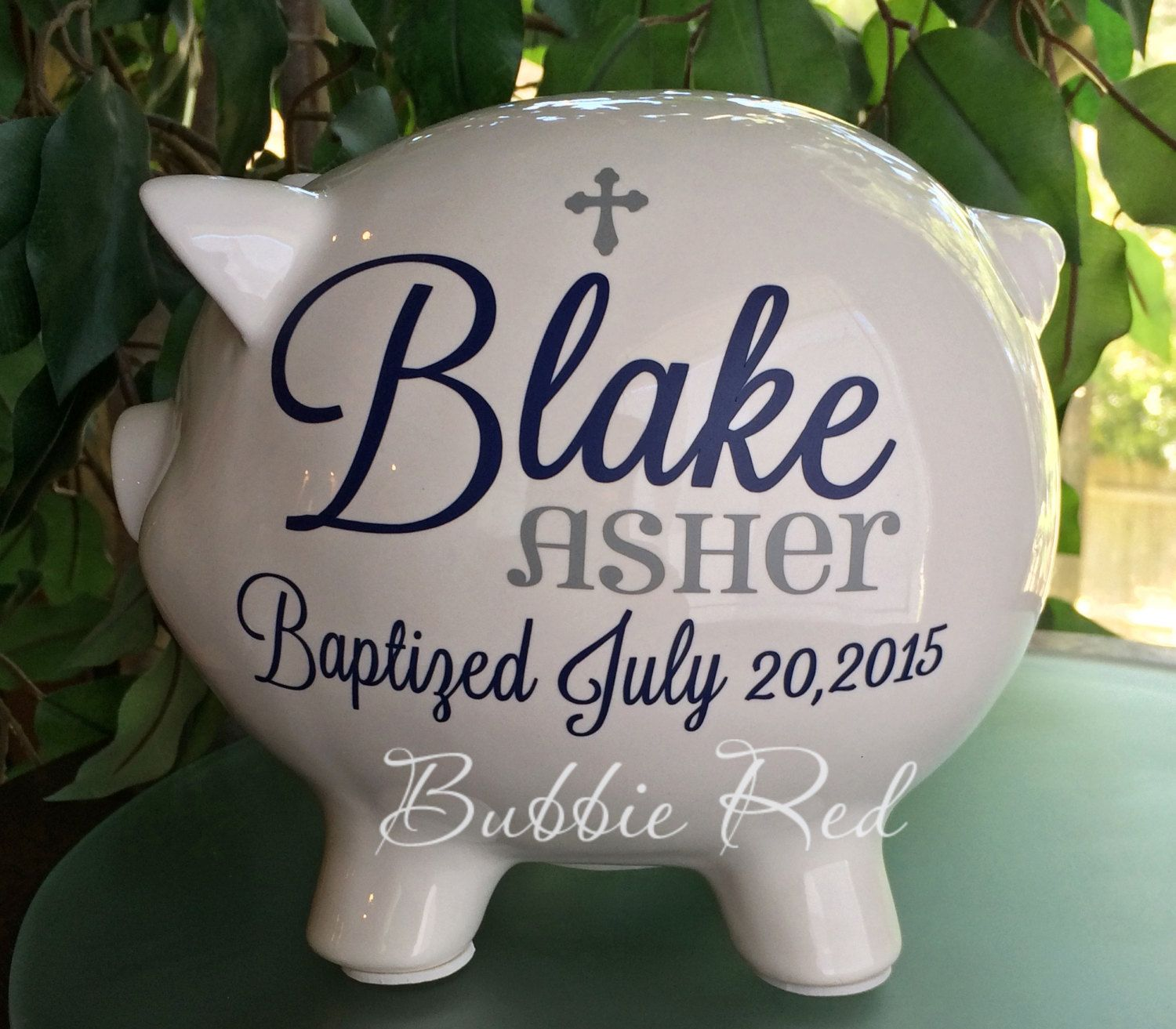 Baptism gift christening gift personalized piggy bank