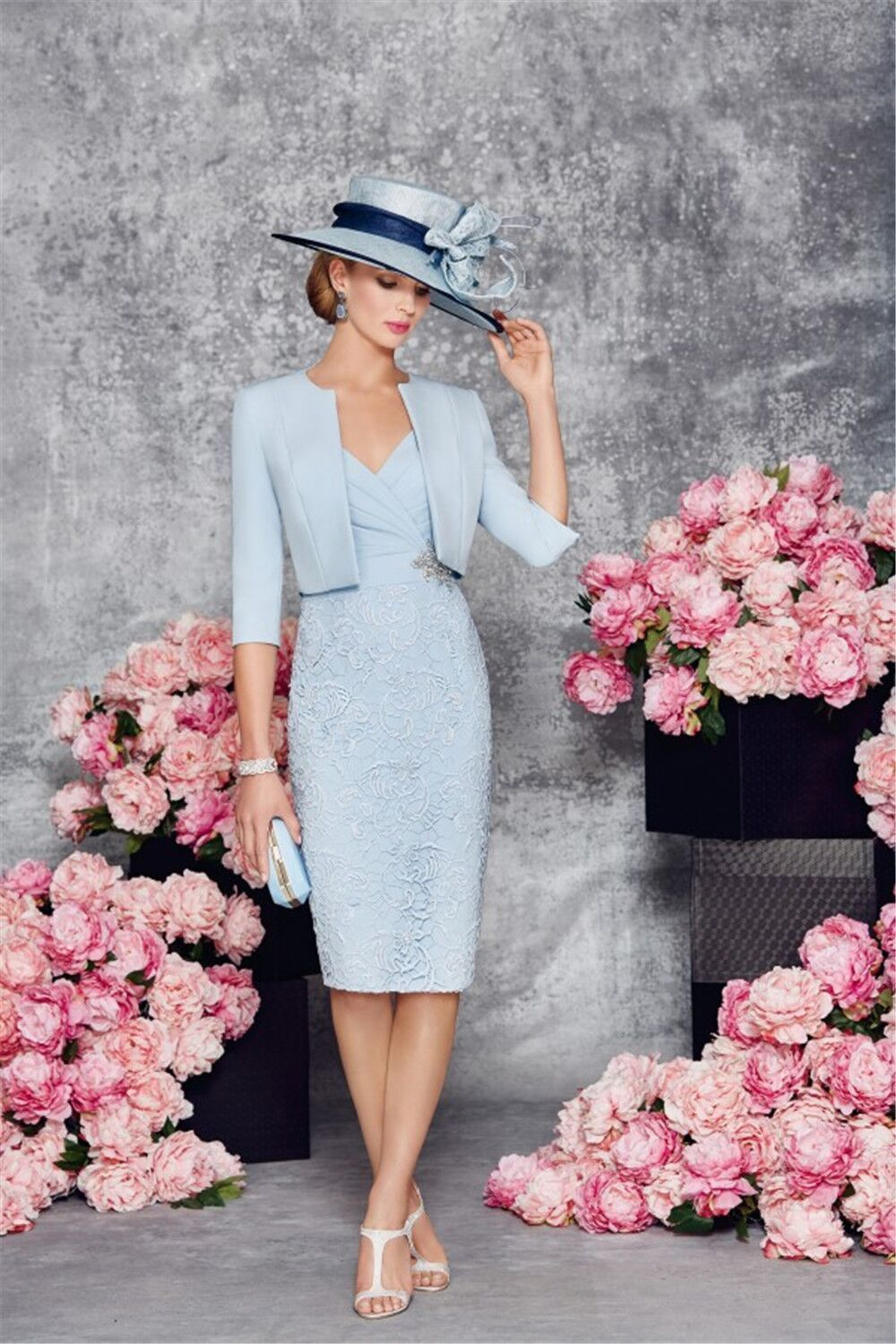Sky Blue Knee Length Wedding Mother Of The Bride Dresses Suits