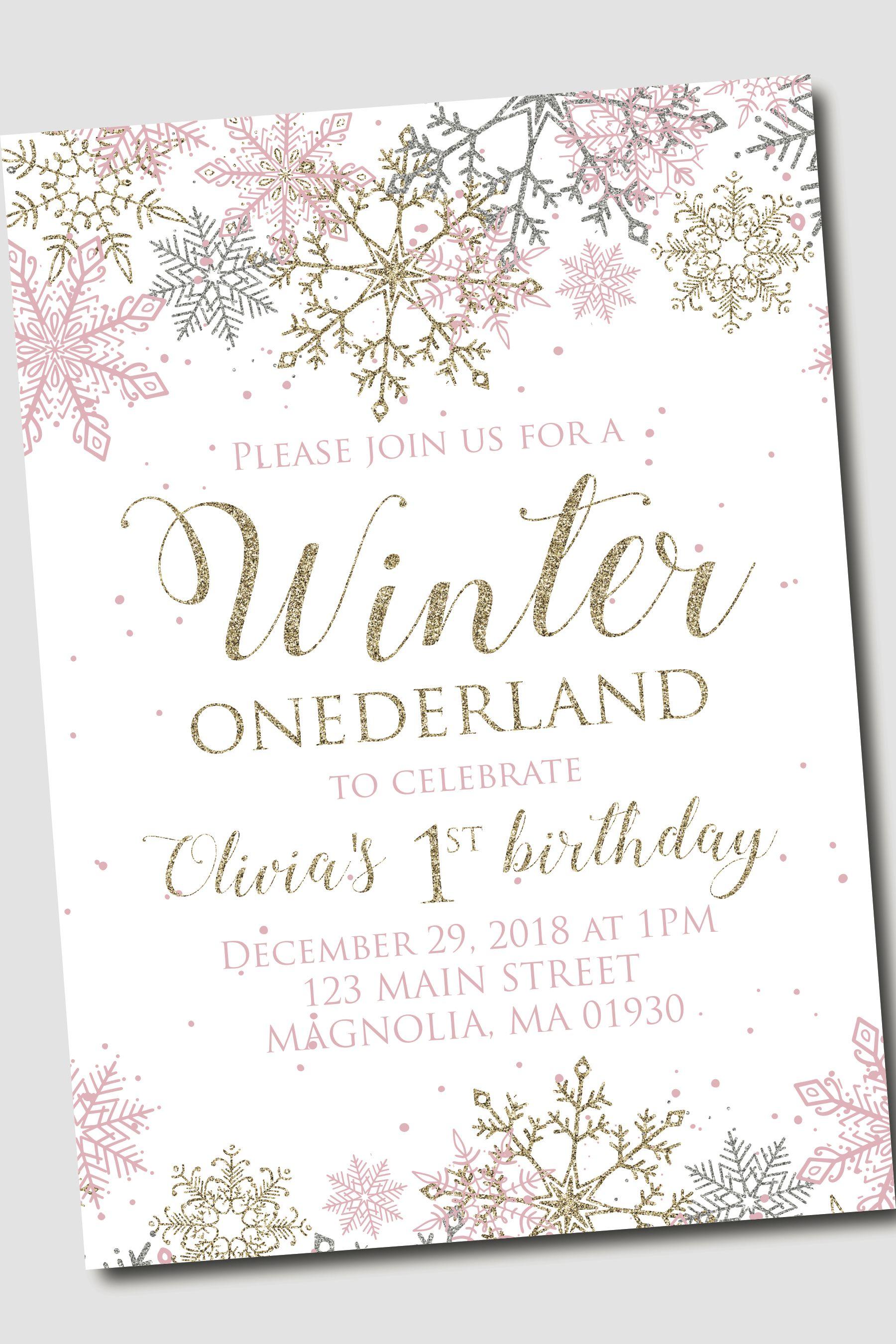 Winter ONEderland Birthday party invite snowflake invitation #firstbirthdaygirl