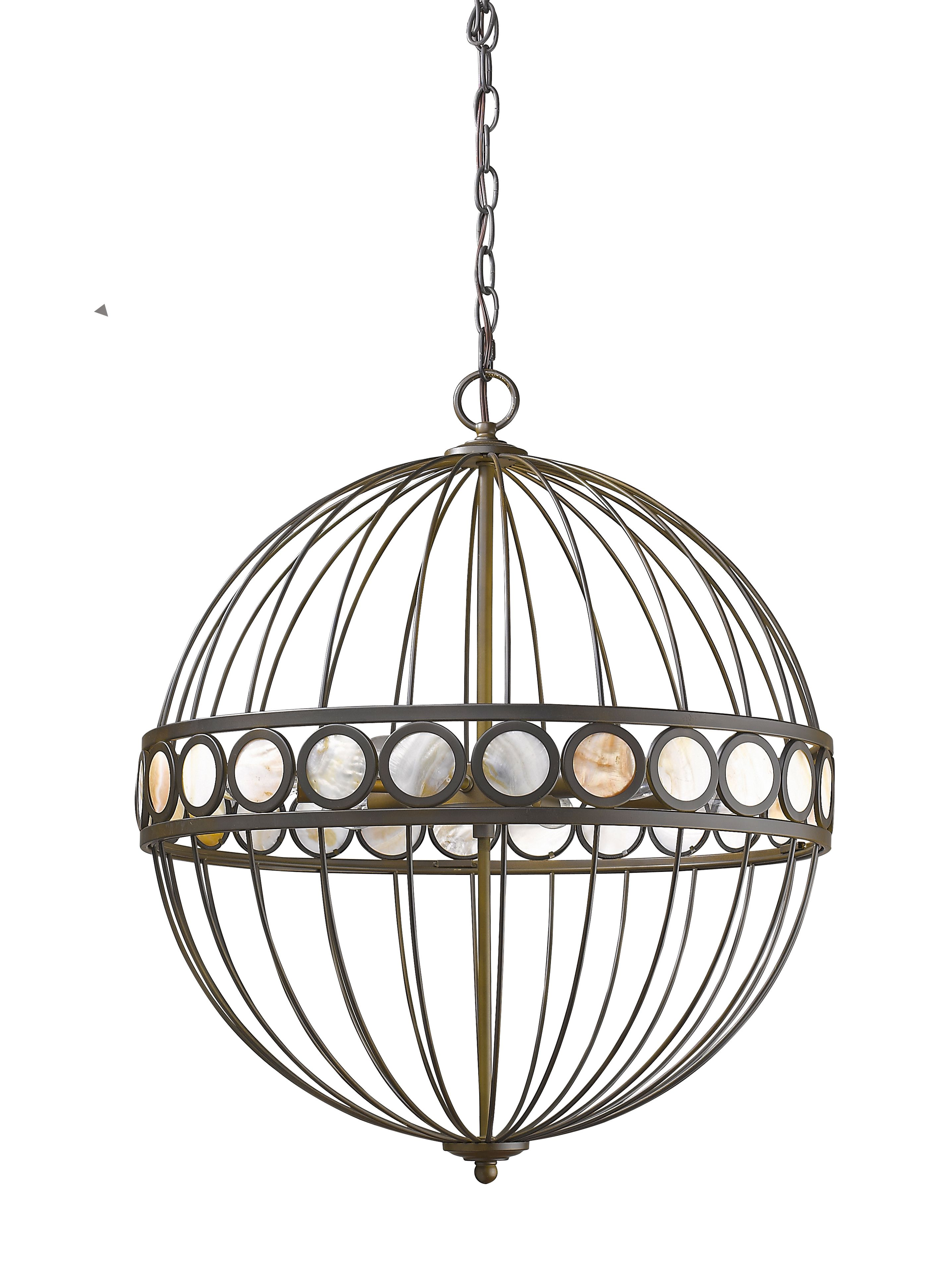 Aria 6 light chandelier in oil rubbed bronze with mother of pearl