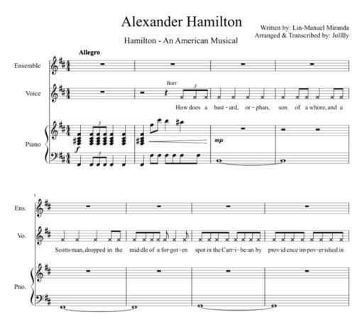 hamilton sheet music