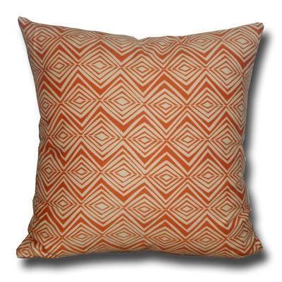 LSCovers Diamond Zig Zag Decorative Toss Cotton Throw Pillow Color: Mandarin Orange / Cream