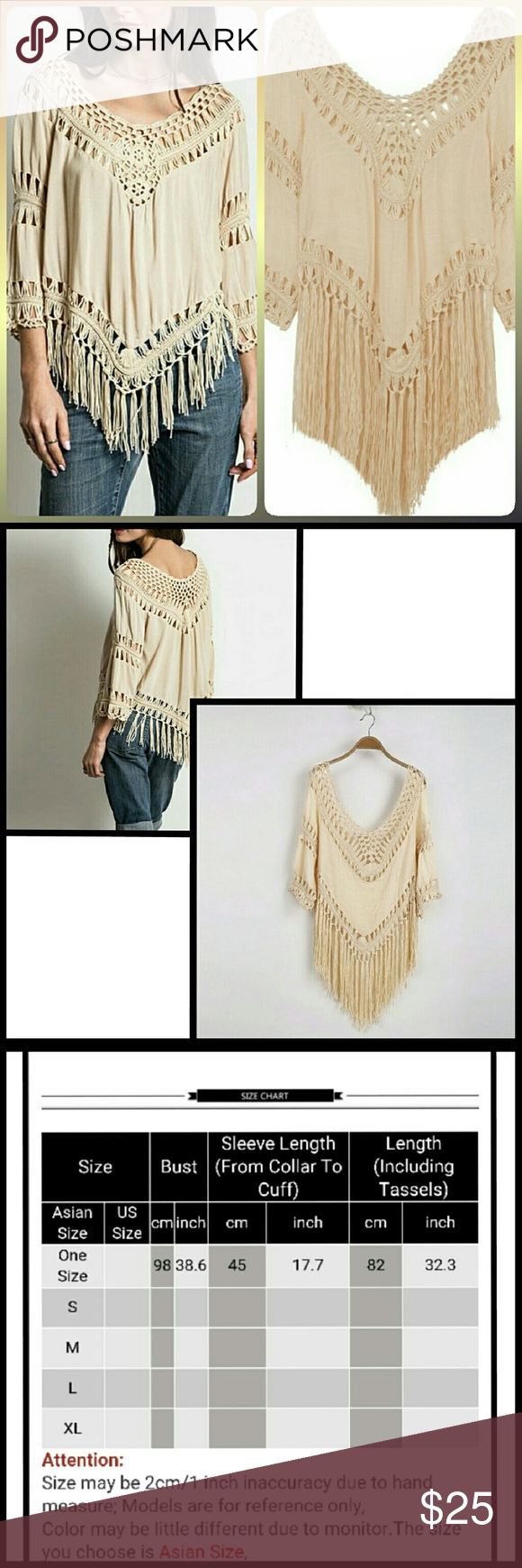 NWOT Fringe Crochet Top Adorable long sleeve, flare sleeve cream colored top. Cotton/polyester blend. Loose fit and lightweight material. Fringe tassel is longer than it looks in the model pics. NWOT Tops