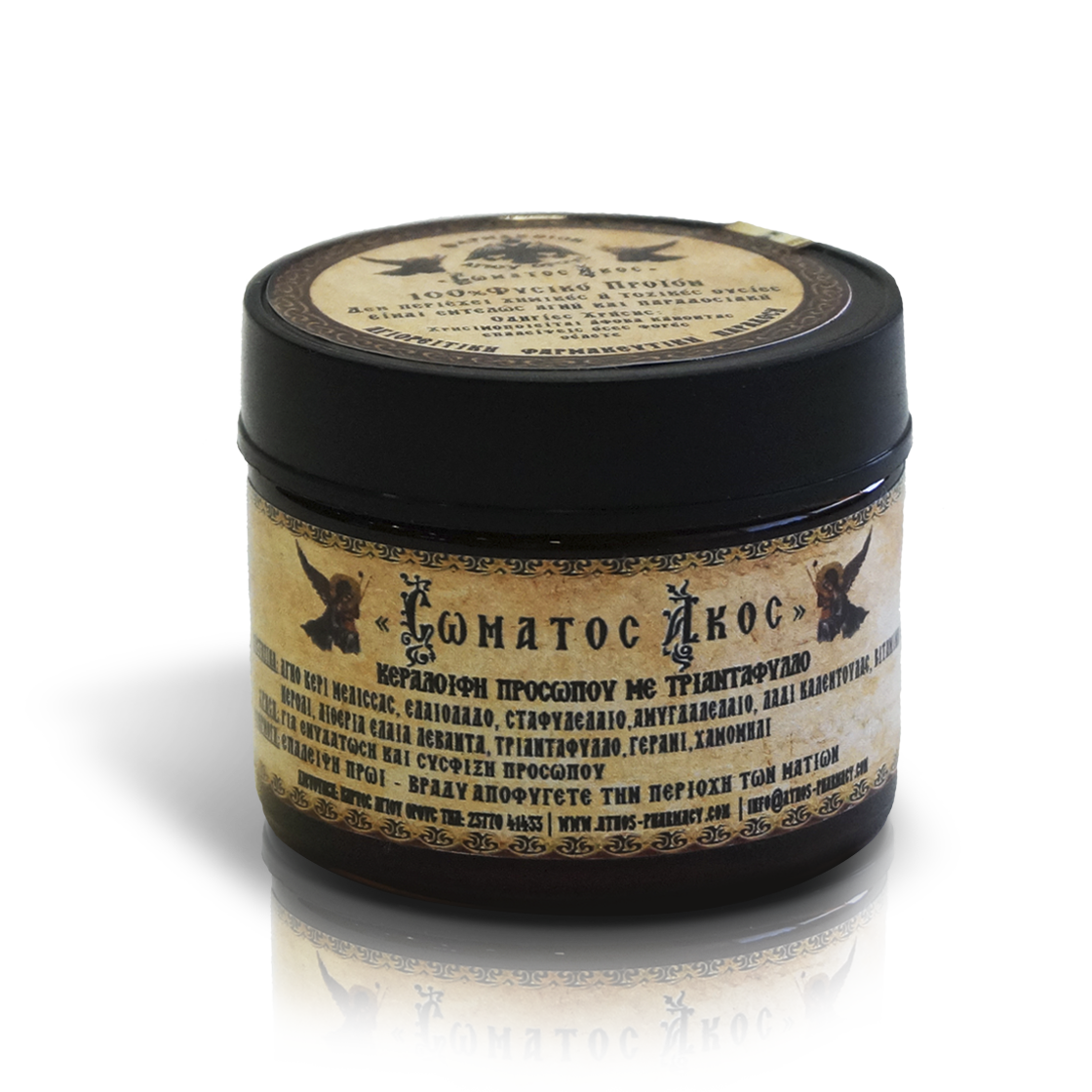 100% natural product, this wax-cream does not contain any chemical or toxic substances. Provides to the dry skin a reconstructive treatment, while its rich composition hydrates and leaves your skin feeling silky smooth. It is available from the Mount Athos product exhibition. / 100 % φυσικό προϊόν η κεραλοιφή αυτή δεν περιέχει χημικές ή τοξικές ουσίες. Παρέχει στην ξερή επιδερμίδα μια θεραπεία ανάπλασης και ενυδάτωσης. Διατίθεται από την Έκθεση προϊόντων Αγίου Όρους.