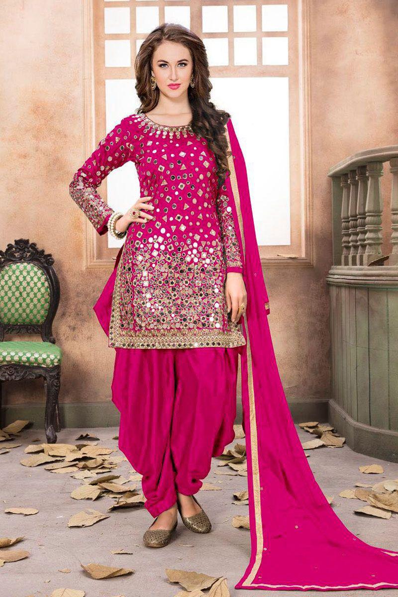ebd38f8717 Attractive Pink Color Wedding Wear Designer tapheta Silk Gorgeous Mirror  Work Party wear Indian Women Style Punjabi Bride Patiala Style Salwar Suit  #twisha ...