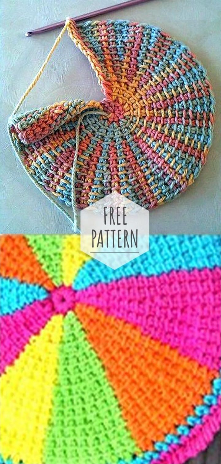 Tunisian Circle Crochet #tunisiancrochet