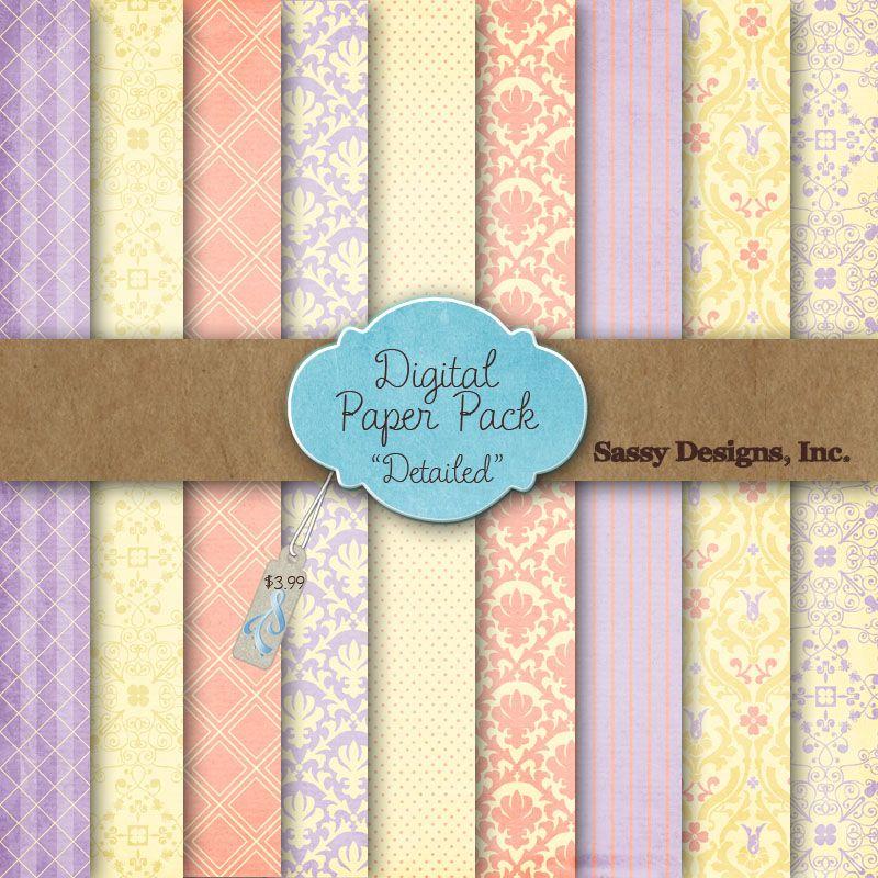Detailed Digital Paper Pack