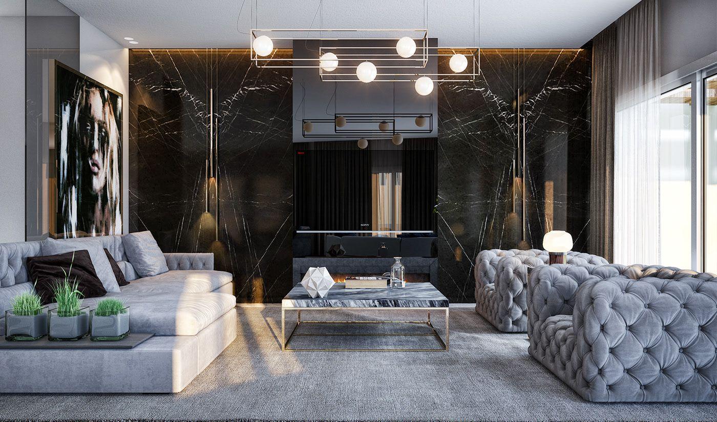 Contemporary Living Room In A Modern Architecture Interior Design Living Room Decor Apartment Contemporary Living Room