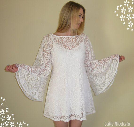 a5e935ed458 60s Dress White Lace Angel Sleeve Dress Mini by CalleModista