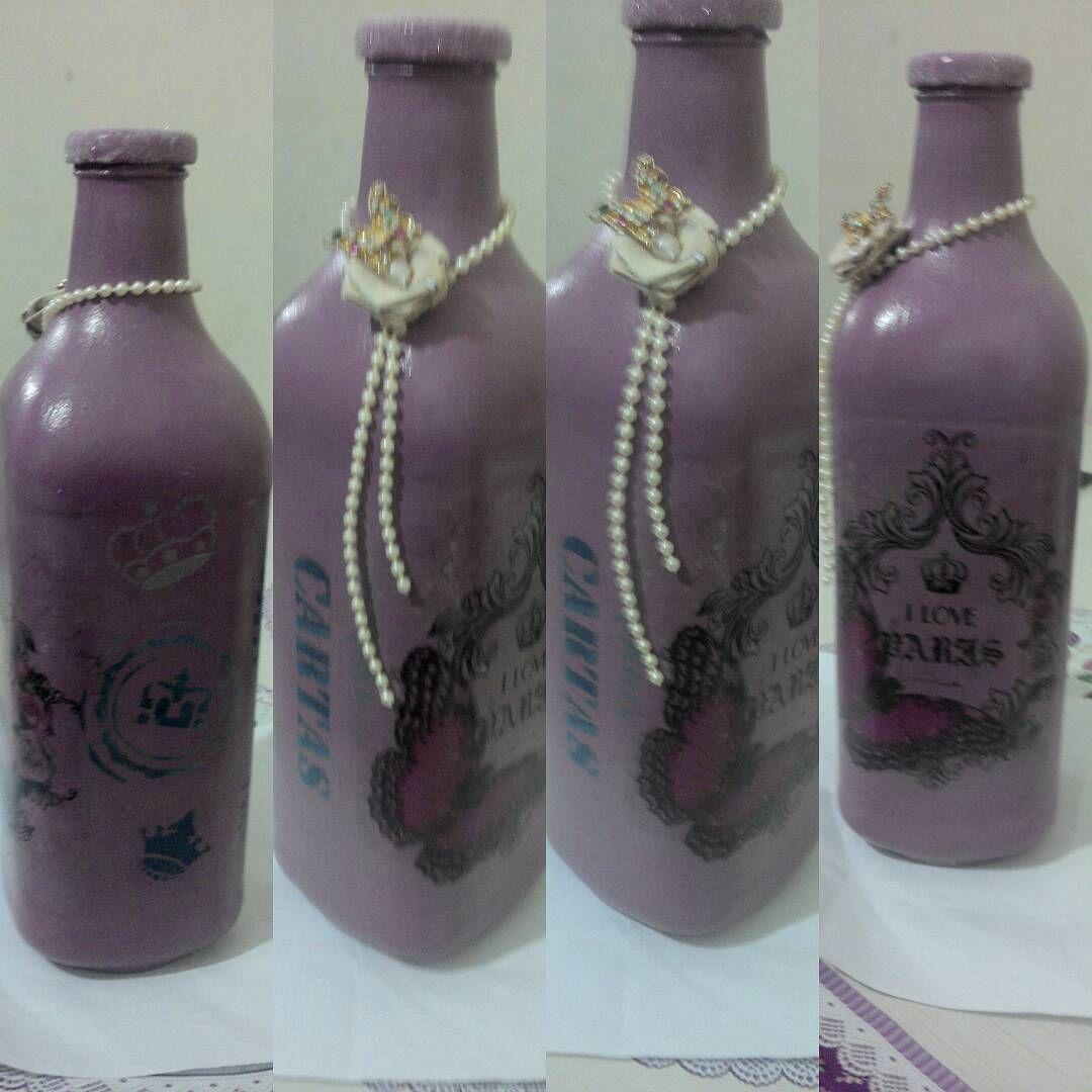 Reciclando garrafa de suco de uva, uma Boa tinta e criatividade, vc faz o mundo