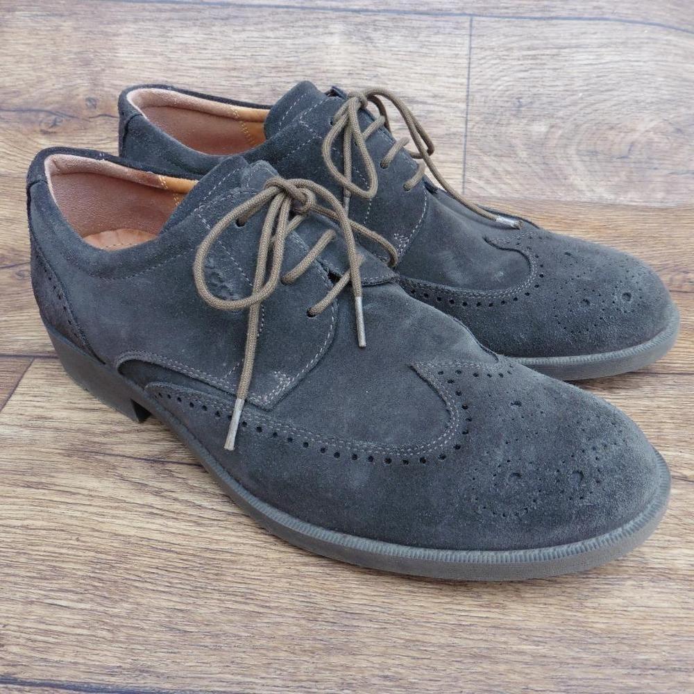 Size uk 9 ecco dark clay grey suede wingtip brogues casual lace up shoes