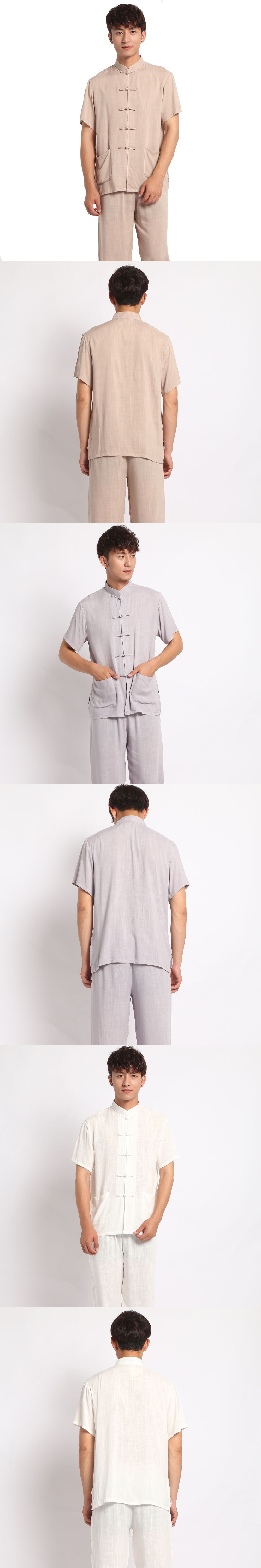 Novelty Chinese Style Men Handmade Button Pajama Set Cotton Linen Pyjamas  Suit Shirt Pants Trousers Sleepwear M L 031d8129b