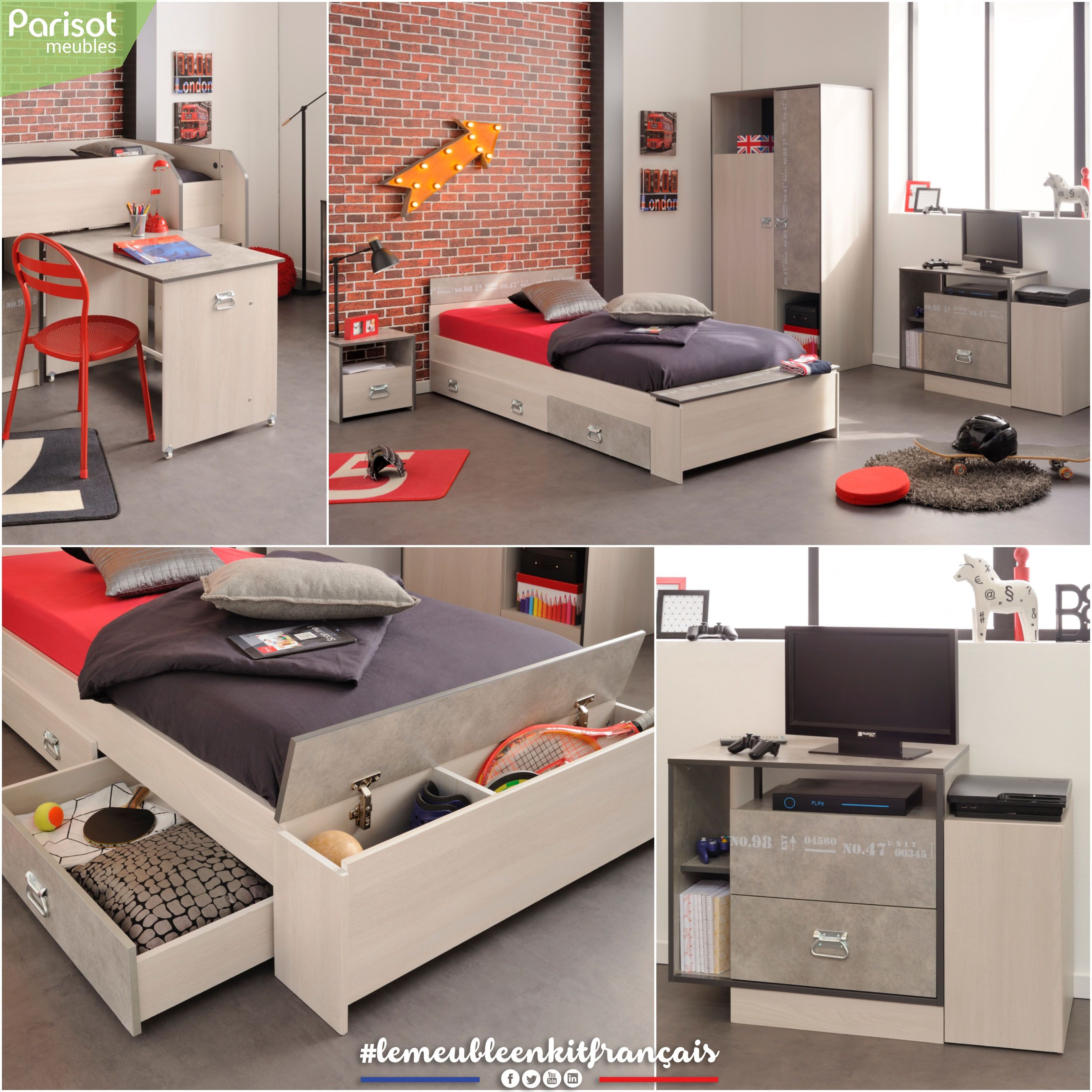 Hipster By Parisot Meubles A Functional And Trendy Bedroom With An Industrial And Hipster Style The Favourite Boys Range Lemeubleenkitfrancais Muebles