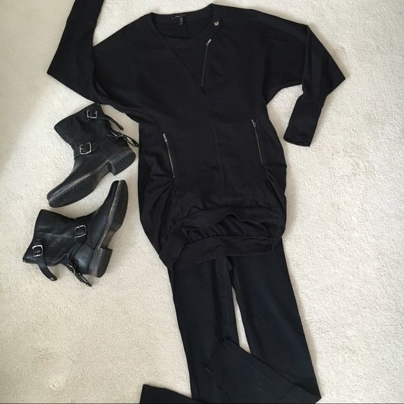 BCBG Black Sweatshirt Dress French terry cotton with tons of details! Super comfy and long enough to cover any booty! BCBG Dresses Long Sleeve