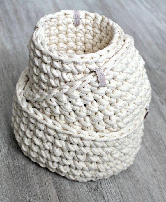 Three Crochet baskets | Trapillo, Cesto y Cestas
