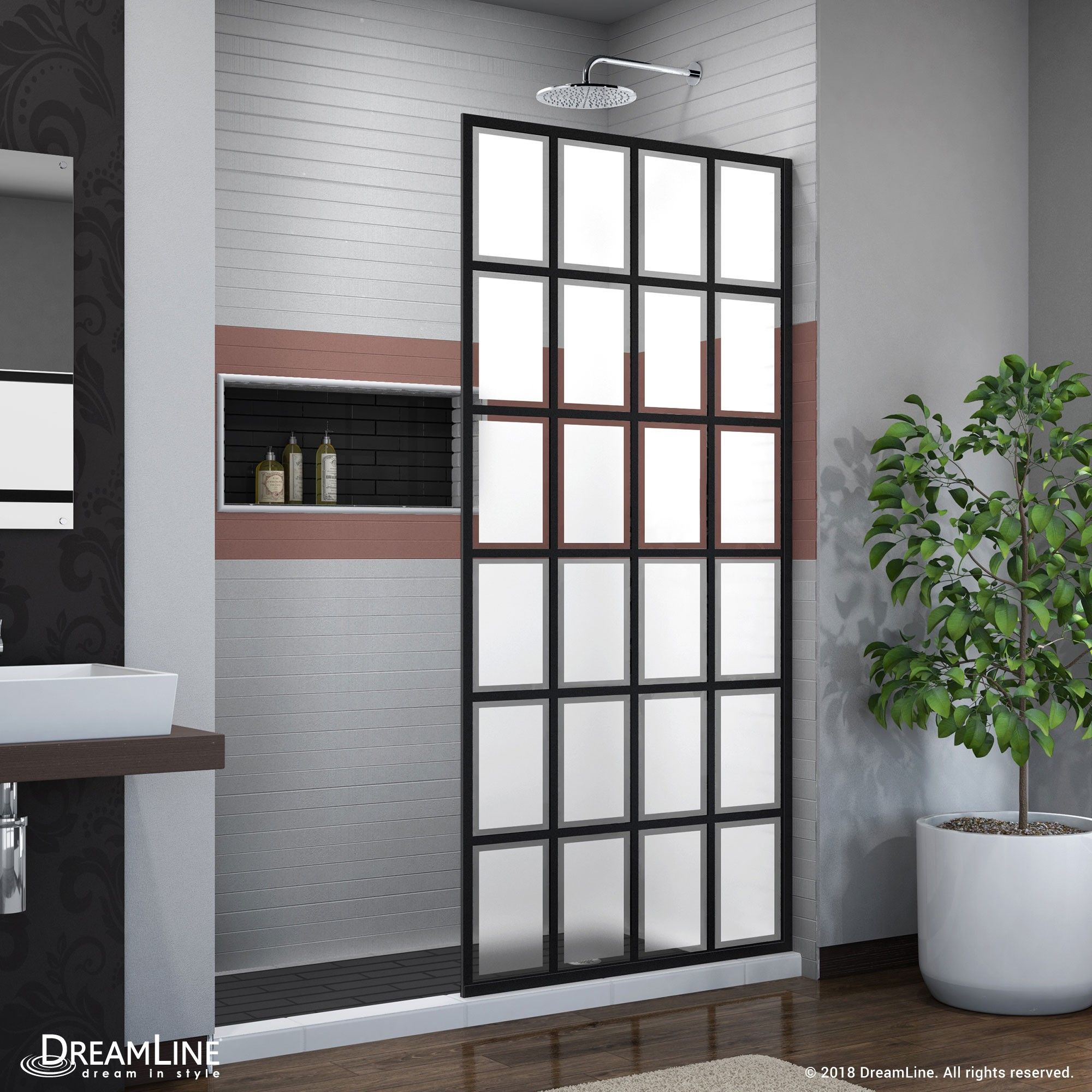 The Dreamline Rhone Part Of The French Linea Collection Is A Single Panel Walk In Shower Design With Black Shower Doors Frameless Shower Doors Shower Doors