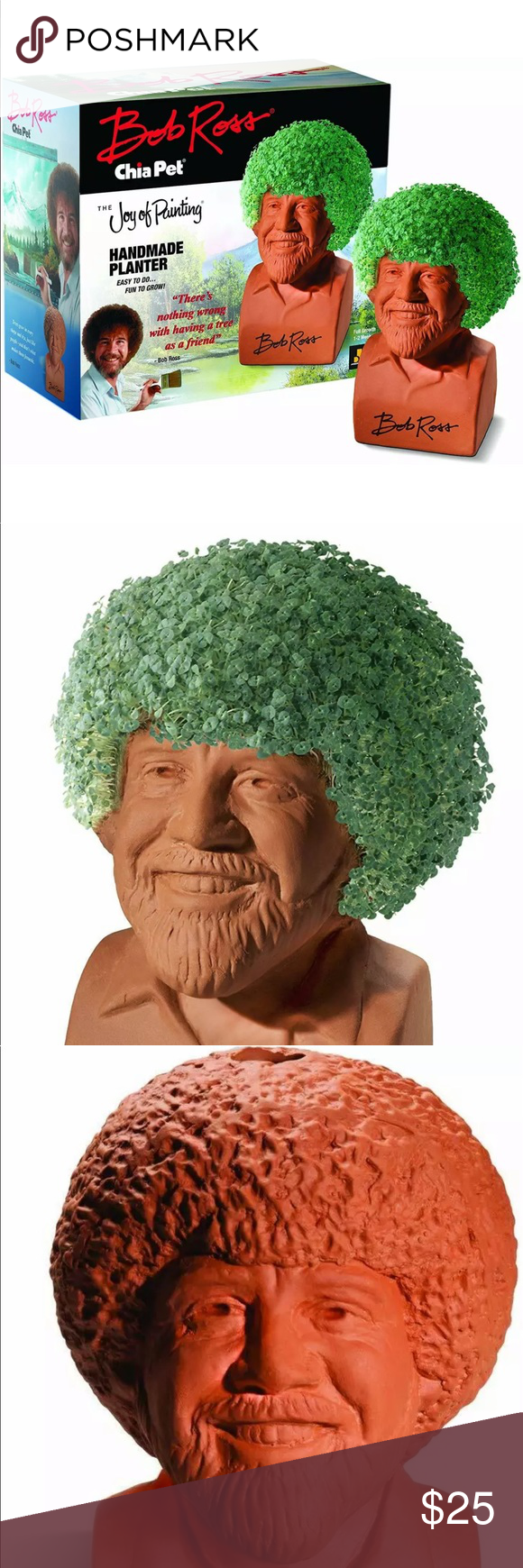 Chia Pet Bob Ross With Seed Pack Brand New In Box Chia Pet Seed Pack Handmade Planter