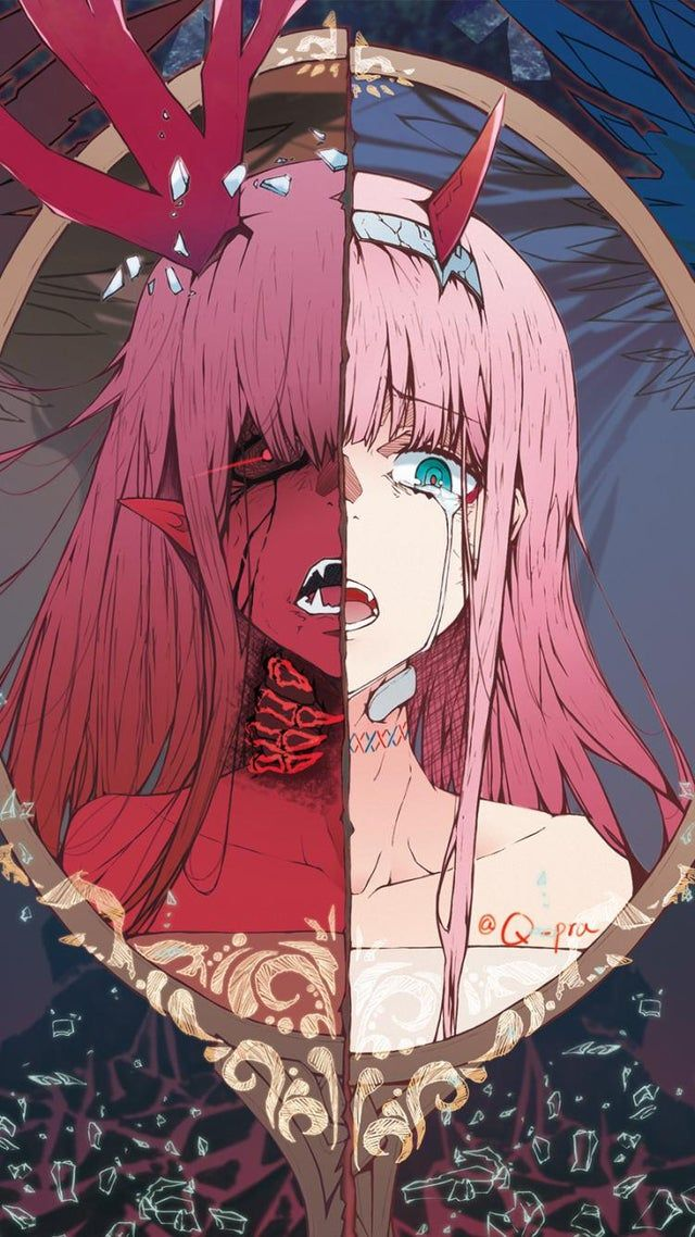 my favorite picture of Zero Two. works as a wallpaper as a plus. artist unknown