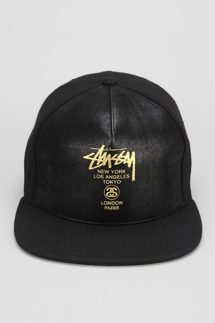 be0da8362a3 Awesome faux leather snapback hat from Stussy.  urbanoutfitters  snapbacks   snapbax