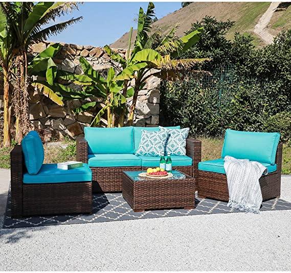 Amazon Com Oc Orange Casual Patio Rattan Sofa Set Couch Wicker Patio Furniture Set Garden C In 2020 Wicker Patio Furniture Set Patio Furniture Sets Turquoise Cushions