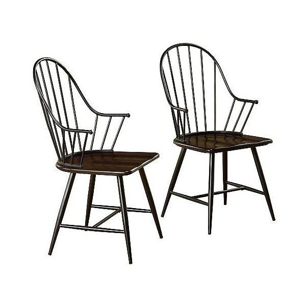 Milo Mixed Media Wood Top Arm Chair Metal Black Farmhouse Dining Chairs Metal Armchair Chair Set