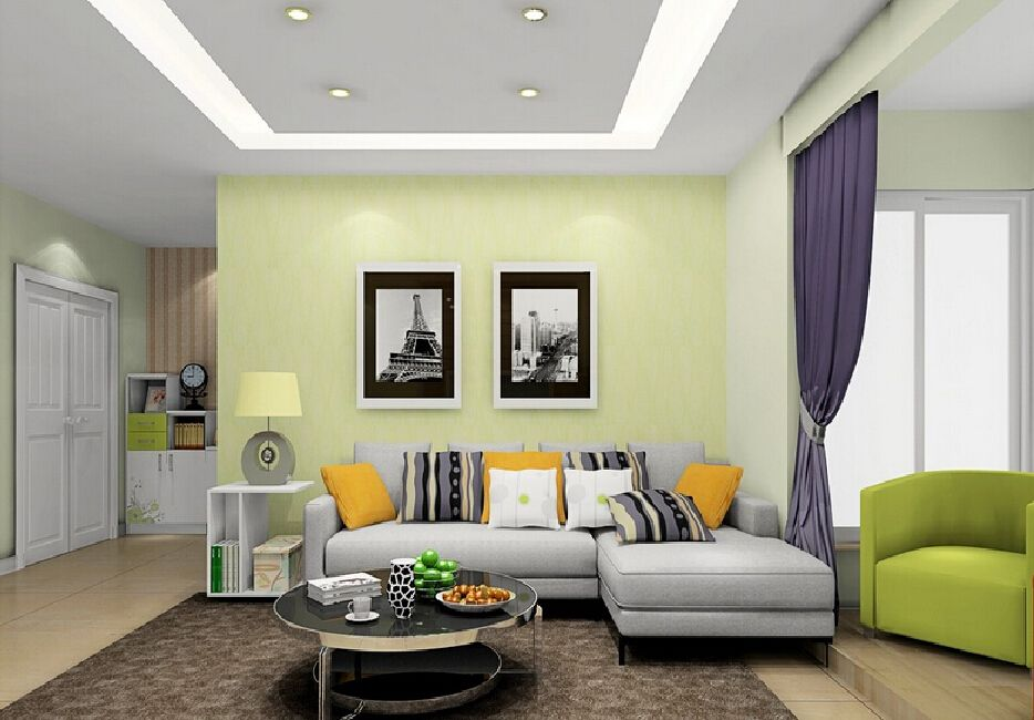 Pale Green Wall With Grey Furniture And Purple And Yellow Accents