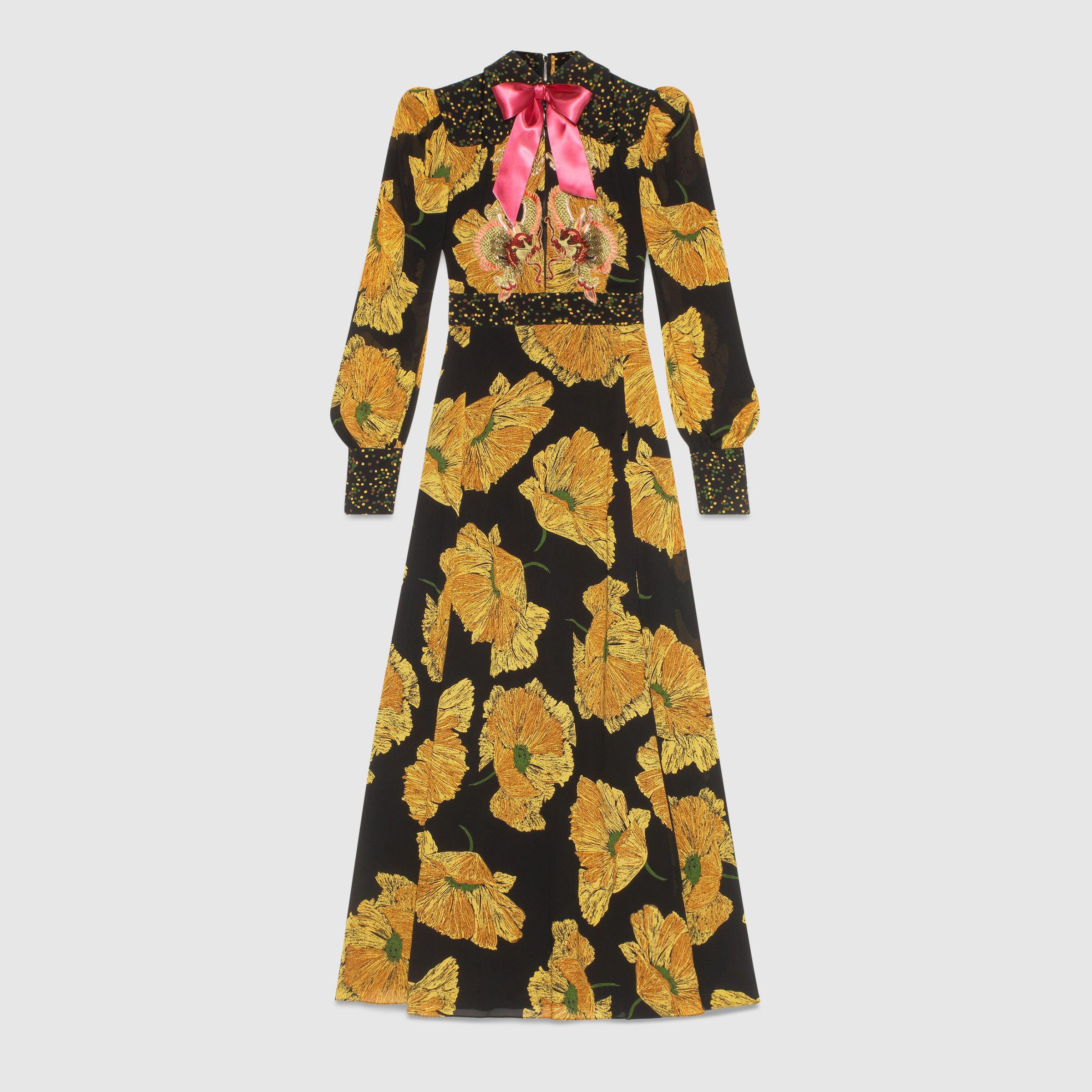 poppy print gown Gucci 2pO8P