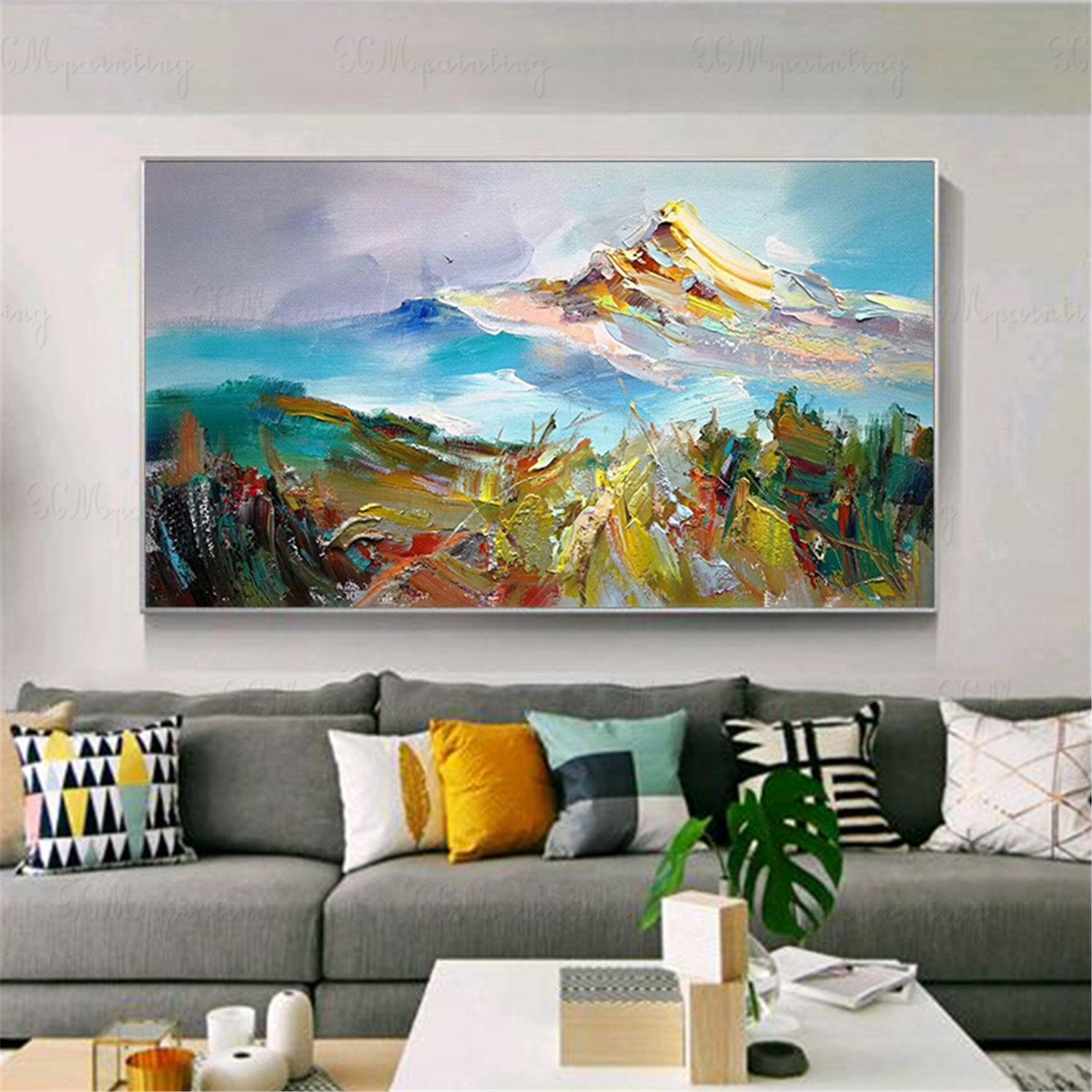 Gold Acrylic Landscape Original Abstract Painting Wall Art