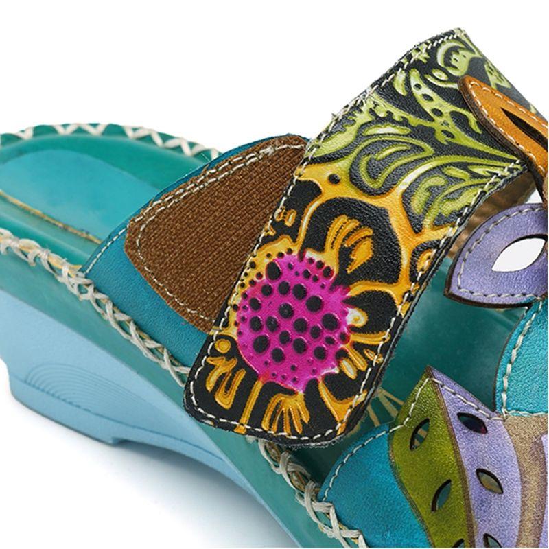 f4b88ff33b2 SOCOFY Bohemian Leather Adjustable Hook Loop Printing Forest Sandals ...