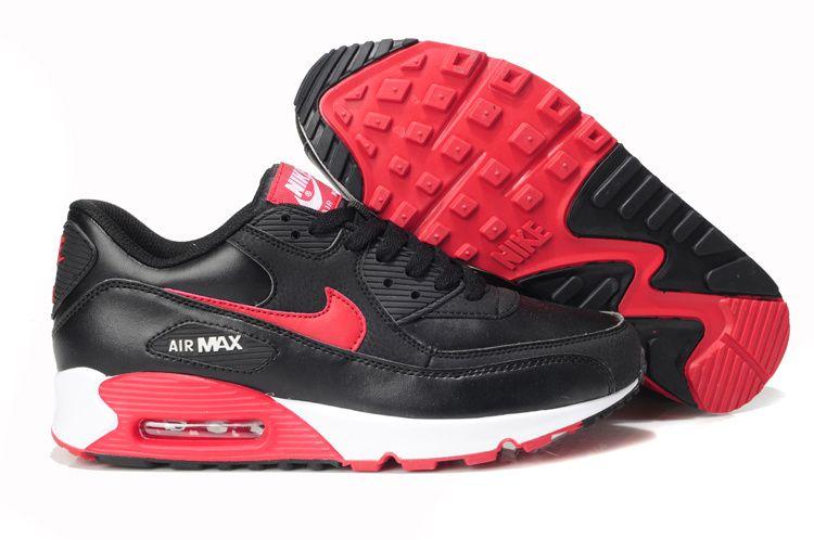 Nike Sportswear Air Max 90 Essential Chaussures Homme Cuir Blanc Noir Rouge