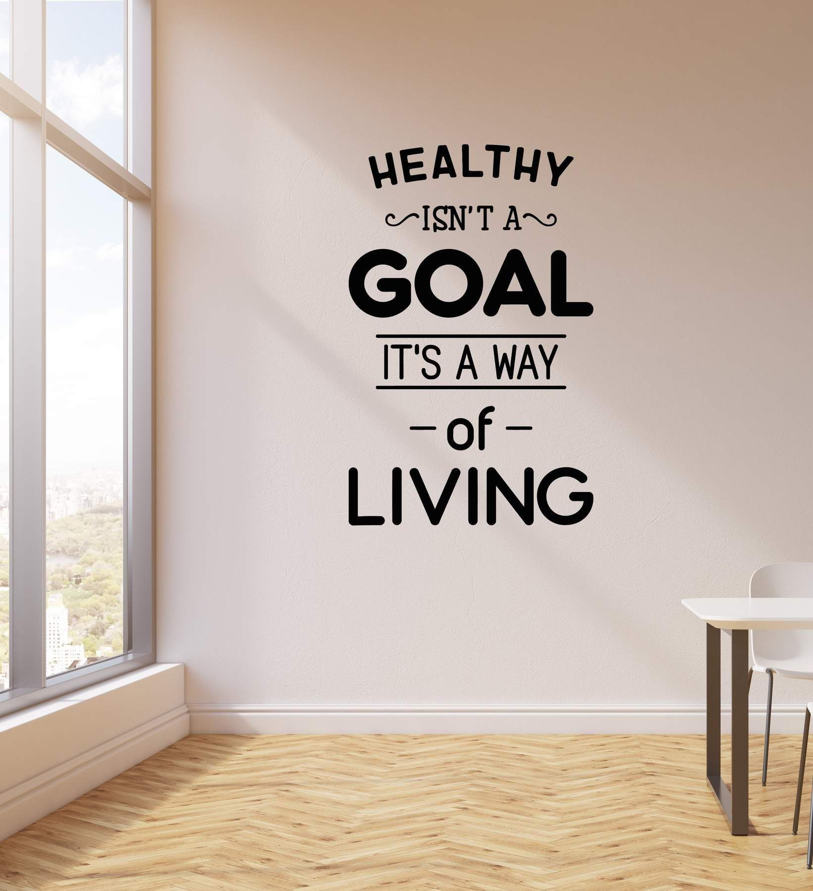 Vinyl Wall Decal Healthy Lifestyle Living Quote Medical Office