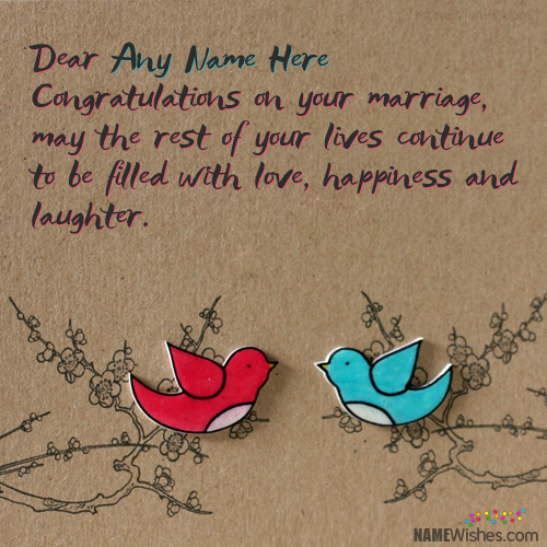 Cute Marriage Quotes: Write Any Name On Cute Wedding Congratulations Card