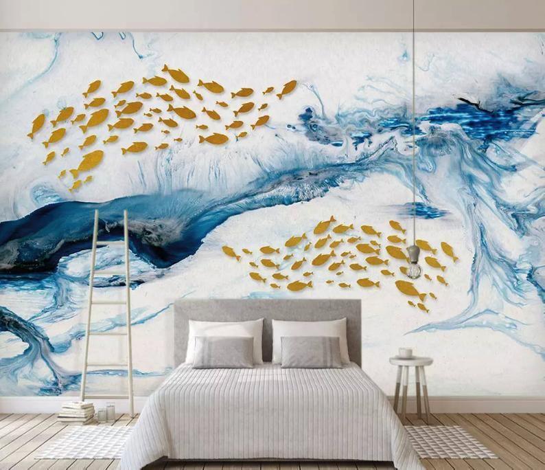 Wave Wallpaper Sea Pattern Wall Mural Gold Fish Wall Art