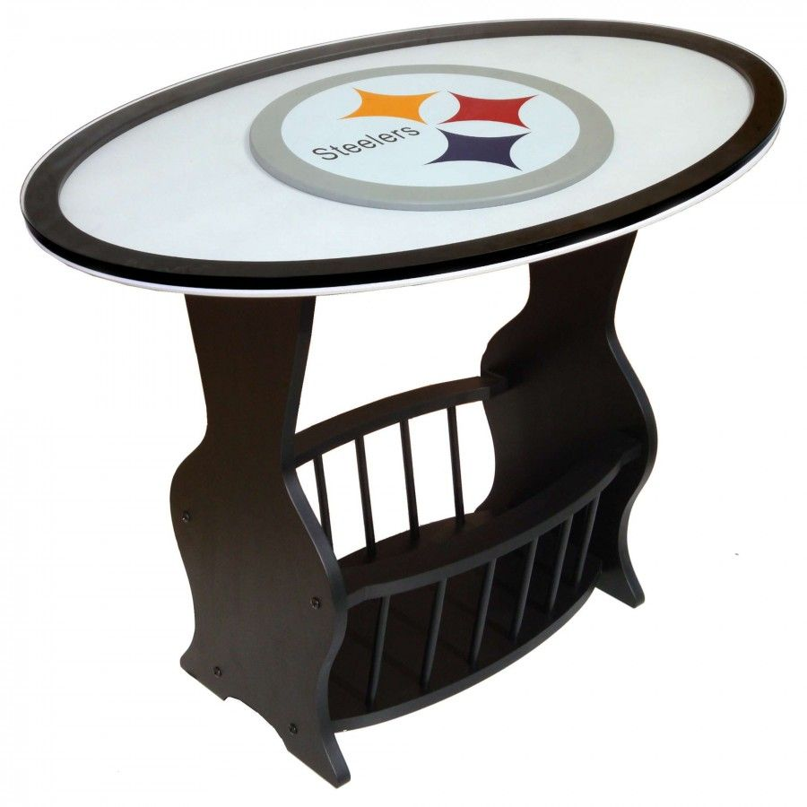 Fan Creations Nfl Logo End Table Nfl Team Pittsburgh Steelers N0537 Pit Glass End Tables End Tables Wood End Tables