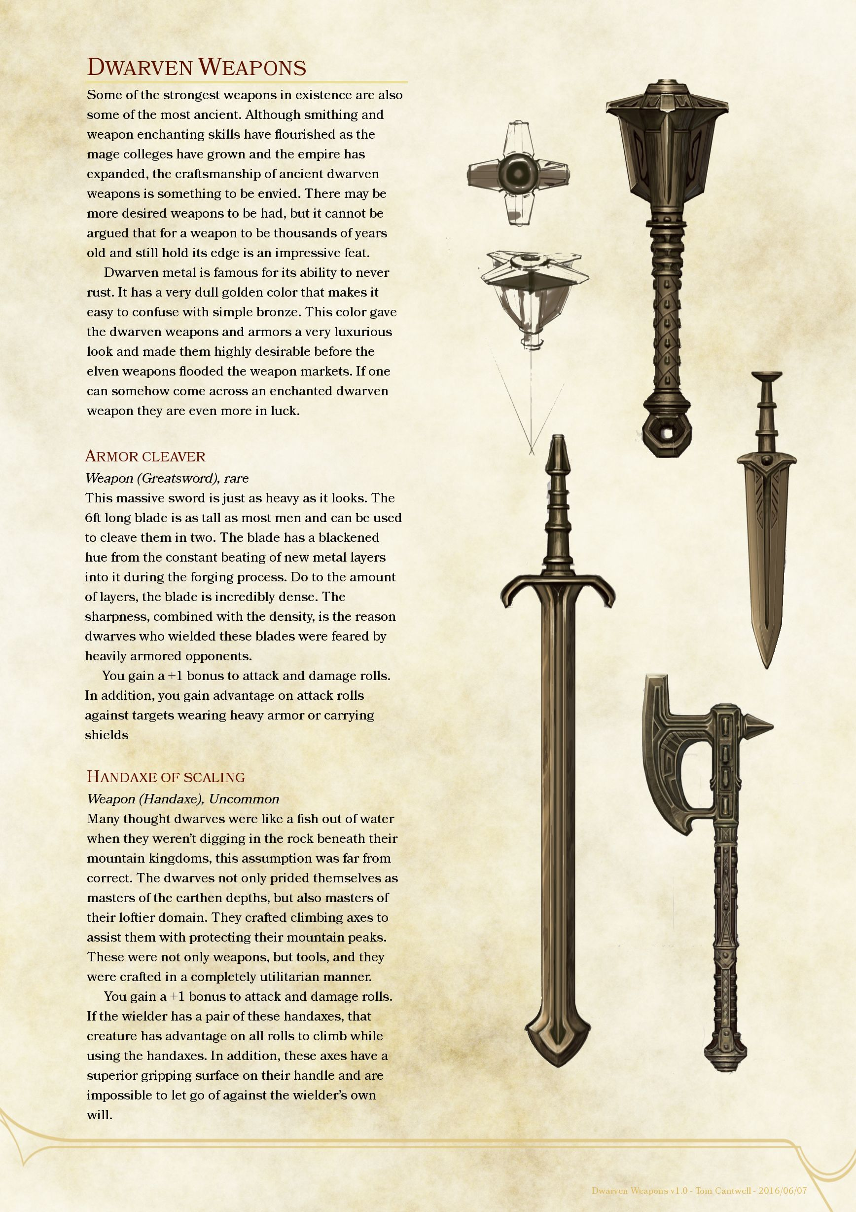 Dwarven Magic Weapons | D&D in 2019 | Dnd 5e homebrew