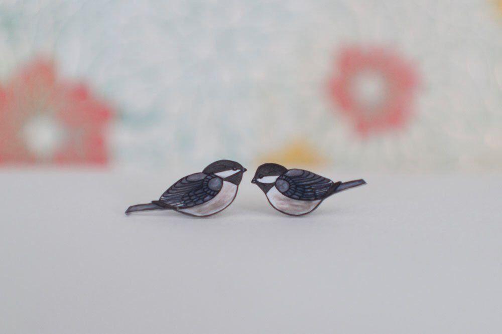 Chickadee Earrings, Shrink Plastic Earrings, Lavender, Cream, Rose Pink, Wearable Art, Studs or Dangle Earrings by PeriwinkleNuthatch on Etsy https://www.etsy.com/listing/86572544/chickadee-earrings-shrink-plastic