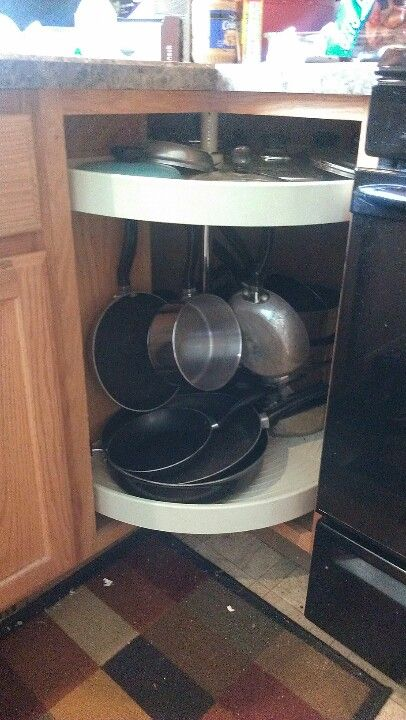 Adjust your lazy susan for Pot rack in corner cabinet and hang ...