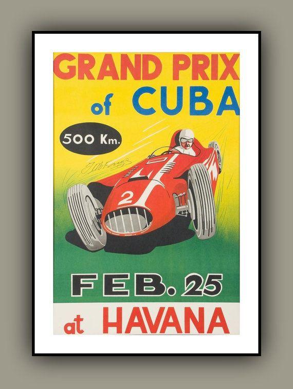 Vintage Cuban Grand Prix Poster 1950s Havana Motor Racing Formula One Fangio